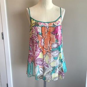Milly NY Watercolor Silk Camisole Tank Size 6